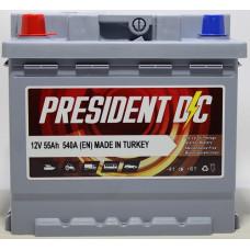 Аккумулятор President DC 55Ah 540A R+