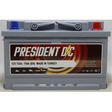 Аккумулятор President DC 75Ah 750A R+